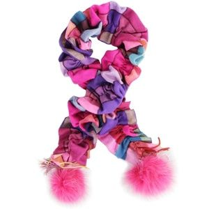 Rabbit Fur Pom Pom Scrunchie Plaid Scarf Mitchie's